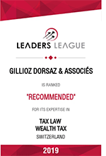 Leaders League – Gillioz Dorsaz & Associés – Recommended in: Tax Law, Wealth Tax